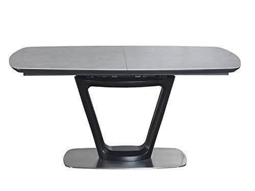 Meubletmoi - Mesa de comedor extensible 160/200 cm, rectangular, bandeja cerámica gris y pie central de acero y MDF – Diseño contemporáneo – CERA