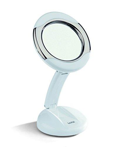 Laica MD6051 Specchio per il Trucco e il Make Up del Viso , Retroilluminato, Richiudibile, Ingrandimento X3, Diametro Specchio 12,5 cm