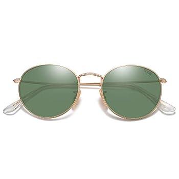 SOJOS Small Round Polarized Sunglasses for Women Men Classic Vintage Retro Shades UV400 SJ1014 Green