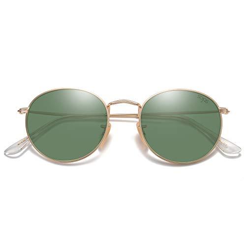 SOJOS Mode Rund Polarisiert Damen Herren Sonnenbrille Linsees Unisex Sunglasses SJ1014 mit Gold Rahmen/G15 Linse