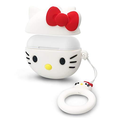 Schutzhülle aus Silikon für Airpods Pro Hülle mit Anti-Verlust-Seil, langlebig, voll stoßfest, Schutz für Airpods Pro/Airpods 3 Ladehülle – Hello Kitty