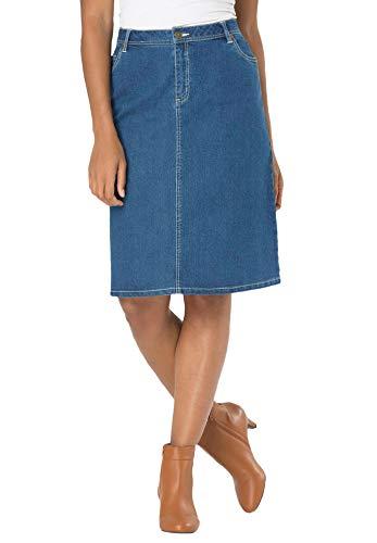 Jessica London Women's Plus Size True Fit Denim Short Skirt - 22, Medium Stonewash