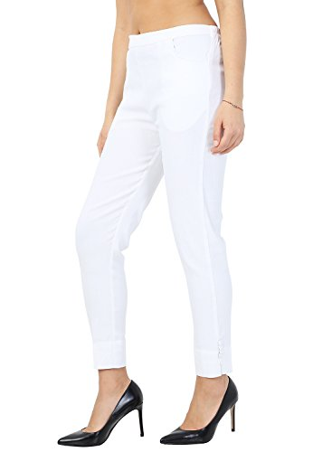 Istyle Can Fashionable Cotton Lycra Stretchable Slim Fit Straight Casual Cigarette Pants for Girls/Ladies/Women (White, Large)