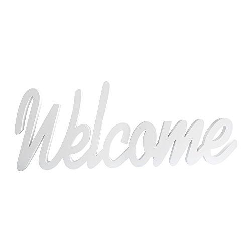Rebecca SRL Ecrit Plaque Decoration Welcome Mur Bois Blanc Design Contemporain Entree Chambre (Cod. RE4525)