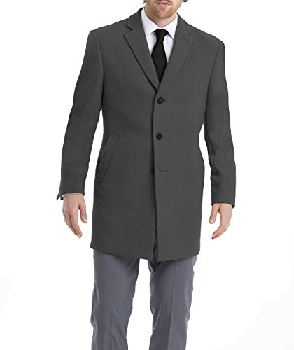 Calvin Klein Men's Slim Fit Wool Blend Overcoat Jacket, Grey, 50 Long