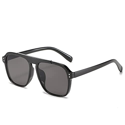 HNGM Gafas de Sol Moda Retro Gafas de Sol cuadradas de Gran tamaño Mujeres Lujo Retro Marco Negro Gafas de Sol Mujeres UV400 Mujeres (Lenses Color : 2 WM2177 C1)