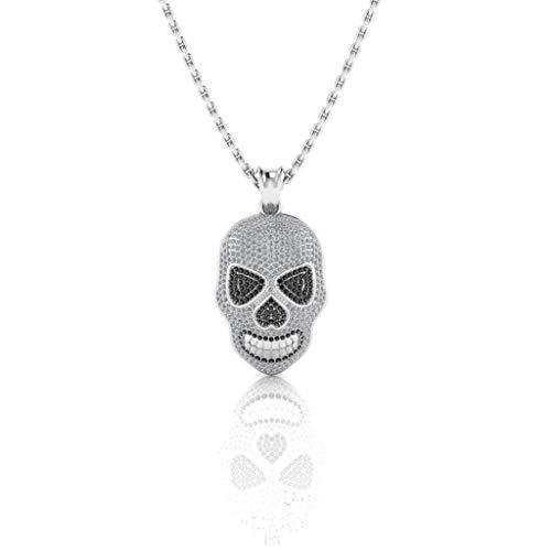 Jbr Jack Skull - Collar de plata de ley con diseño de calavera para hombre, estilo hip hop, rock, calle, joyería de Halloween