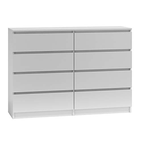 BIM Furniture Marbella - Comò con 8 cassetti, 120 cm, multiuso, per camera da letto e soggiorno