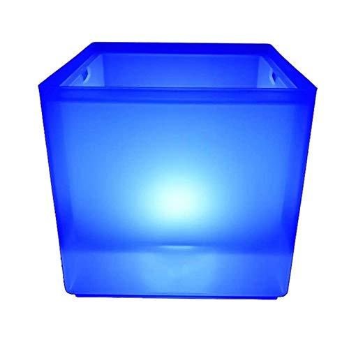 Portaghiaccio Secchiello del ghiaccio con pinze 3.5 l Quadrato luminoso Benna di ghiaccio Benna RGB che cambia il doppio strato della birra Benna del ghiaccio Benna del vino del ghiaccio per la festa,