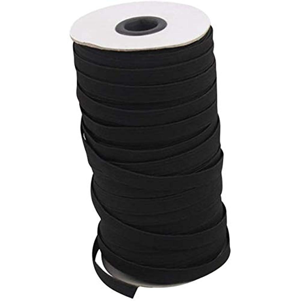 パンサーお嬢延期する70/100/160ヤード弾性バンド弾性ロープ3/6ミリメートルゴム弾性ひもバンド衣服裁縫アクセサリーホワイト弾性ロープ (Color : ブラック, Size : 70Yards(64M))