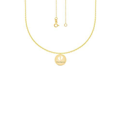 Stella-Jewellery 585er Collierkette mit Gravurplatte Rund Platte Füsse Gold Kette -Ø20 inkl. Etui