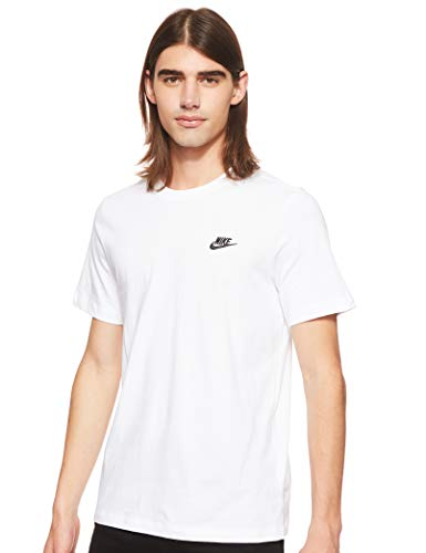 Nike Herren M NSW Club Tee T-Shirt, White/(Black), M