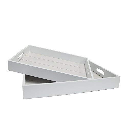DRULINE 2erSet Dekotablett Serviertablett Holztablett zum Frühstücken und Servieren aus Holz mit Tragegriffe im Shabby-Chic Stil | L x B x H Klein 36 x 26 x 5 cm Groß 40,5 x 30,5 x 5 cm | Weiß
