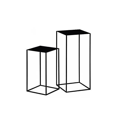 Nido de 2 mesas, mesas auxiliares de metal altas de estilo industrial, soporte para plantas de esquina, soporte para macetas – marco rectangular delgado (tamaño: 54 cm + 74 cm, color: negro)