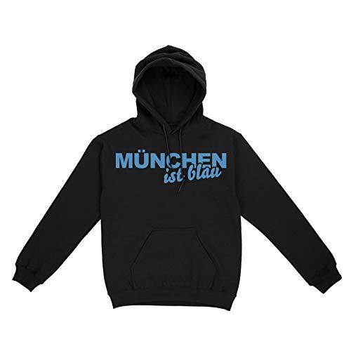 42thinx Unisex Hoodie Kapuzenpullover Herren & Damen I Kapuzen-Pulli mit Kängurutasche I Schwarzer Hoodie mit Spruch Fußball Fan I München ist Blau - Löwen Fanartikel Schwarz-Hellblau M