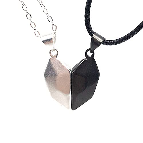 Personalizar collares magnéticos de creatividad para parejas, colgante de corazón con amor, para hombre y mujer, blanco y negro, regalos para fiestas, aniversarios, cumpleaños, joyas personalizadas