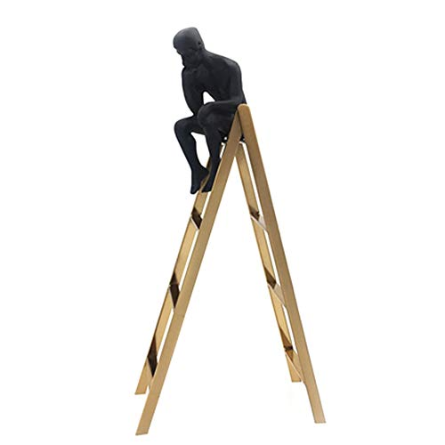 SODIAL Pensador Escultura Pensador Lindo en Las Escaleras EstanteríA de Escaparate EstanteríA DecoracióN CláSica para el Hogar Hombre Negro