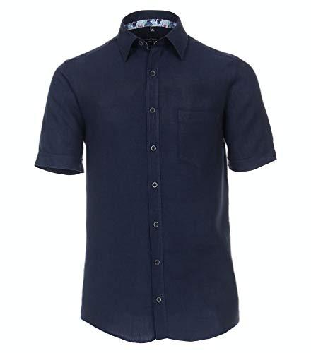 Casa Moda - CasualFit - Herren Freizeit Leinen Hemd Kurzarm (913655700), Größe:XL, Farbe:Blau (104)