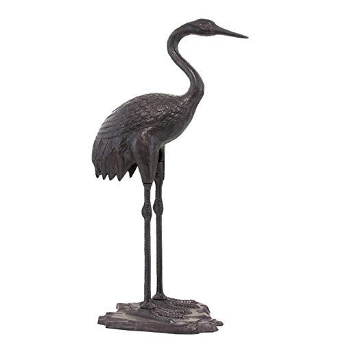 L'ORIGINALE DECO Statue Sculpture Héron Mâle Oiseau Décoration Jardin Fonte Marron 73 cm