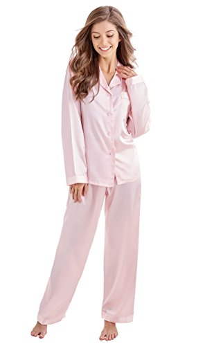 Tony & Candice Damen Schlafanzüge Lang Satin Lang Pyjama Set Nachtwäsche (S, Hellrosa)