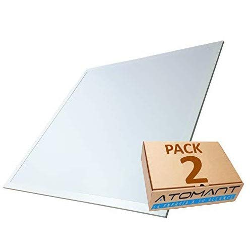 Pack 2x Luminaria Panel LED 60x60 cm, 40W Ultrafino. Color Blanco Frio (6500K). Idoneo Techo Modular. 3200 Lumenes. A++