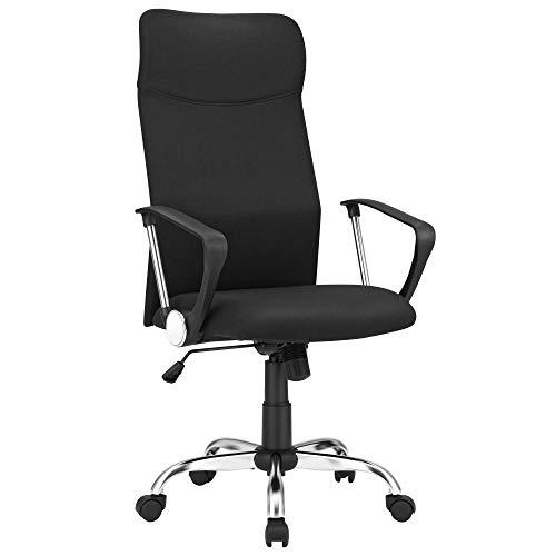 SONGMICS Fauteuil de bureau, Chaise ergonomique, Siège rembourré pivotant, en tissu, hauteur réglable, mécanisme basculent, charge 120 kg, Noir...