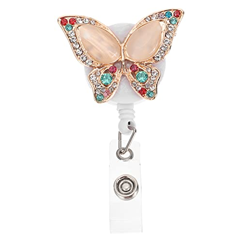 STOBOK Carrete de Insignia Retráctil con Diamantes de Imitación Mariposa ID Badge Holder Clip de Insignia Cocodrilo Enfermera Badge Holder con Clip para Tarjeta de Nombre Color Mixto
