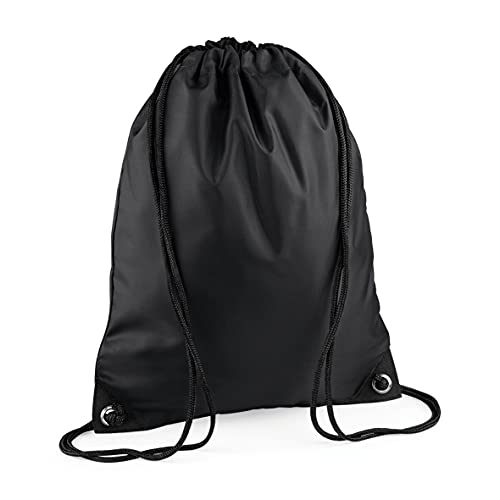 Borsa con cordino, in polietilene, colore nero, per scuola, sport, palestra, zaino per bambini (nero)