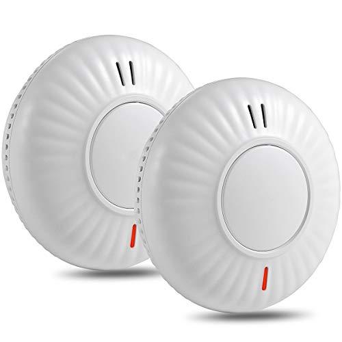 Semoss 2 Piezas Detector de Humo Fotoeléctrico,10 Años Batería Sensor de Humo Sistemas contra Incendios con Diseño Anti Insectos,85dB,Botón de Prueba,TÜV EN 14604