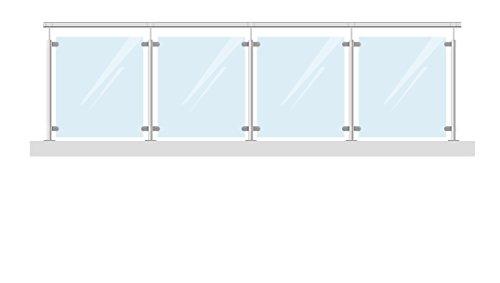 Completo Acero Inoxidable barandilla balcón barandilla 444cm, con 8mm VSG Cristal de...