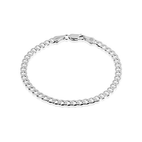 Quadri - Elegante Bracciale in Argento 925 con Catena Modello Cubano Diamanto per Uomo/Donna - larghezza 5 mm - lunghezza 19 cm - Made in Italy certificato