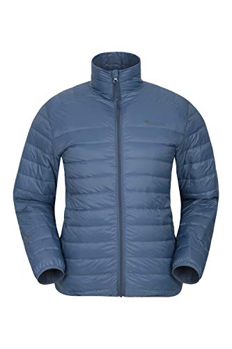 Mountain Warehouse Featherweight Daunenjacke für Herren - Leichte Winterjacke, Transportbeutel, wasserbeständige Regenjacke - Ideal für Camping Blau M