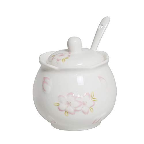 Zuccheriera in ceramica con coperchio e cucchiaio, per la casa e la cucina, 245 ml, colore: rosa sugar-bowls bianco