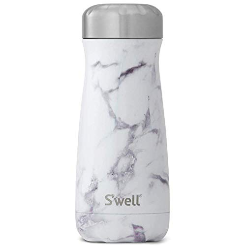 S'well Stainless Steel Traveler-16 Fl Oz Triple-Layered Vacuum-Insulated Travel Mug Keeps Coffee, Tea and Drinks Cold for 24 Hours and Hot for 12-BPA-Free Water Bottle, 16oz, White Marble