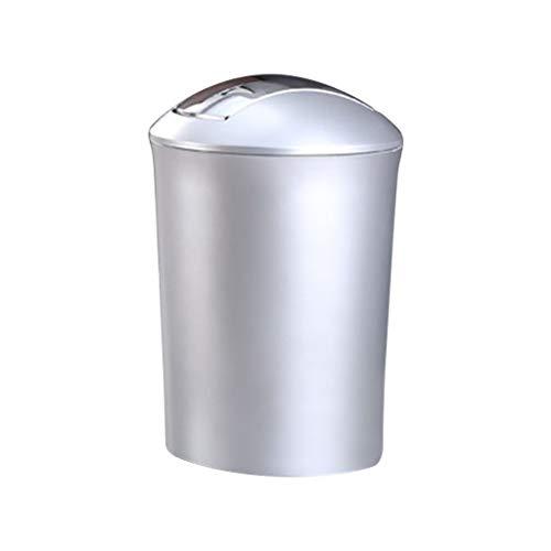 Xiaoli Cubo de Basura Bote de Basura Europeo con Tapa giratoria para Bolsas de Basura, Adecuado para baño/Cocina/Oficina (Oro/Plata) Papeleras (Color : Silver, Size : L)
