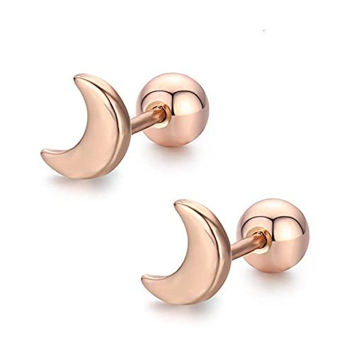 XAOQW Lindo Pequeño Crescent Crescent Espiral Stud Pendientes Señora Niño Niña Dorado Piercing-Color Oro Rosa