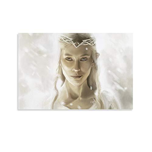 Póster de la reina de los elfos de DRAGON VINES El Señor de los Anillos Galadriel de la Reina de los Elfos Art Poster Impresión de la Sala de estar de 50 x 75 cm