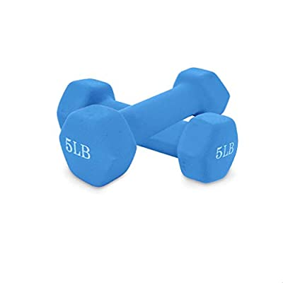 Jieson 5LB Barbell Set of 2 for Women All-Purpose Dumbbells in Pair Dumbbell Weights Dumbbells Exercise Weight Strength Training Equipment Workout Equipment Gear (5 lb)