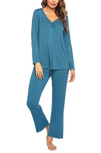 MAXMODA Schlafanzug aus Viskose Damen Pyjama Hausanzug Jersey Yoga Nachtwäsche Freizeitanzug Schlafanzugoberteil und Hose, Large