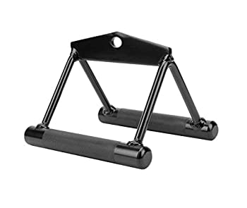 Febos V Shaped Pull Down Bar Attachment Double D Handle Pull Down Cable Machine Handle Attachments Black Knurled Handle