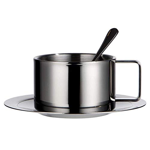 FANMENGY Cup 200 ml de la categoría alimenticia 304 de acero inoxidable taza de café espresso platillo Set cappuccino cuchara Plato Hogar