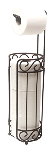 Home Basics Bronze Scroll Holder and Dispenser, Free Standing Paper Roll & Space Roll Storage for Bathroom, Toilet, Powder Room Organization