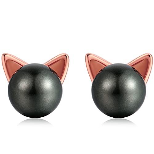 Pendientes gato negro Pendientes de perla negro de gato para niñas pendientes gato plata de ley 925...