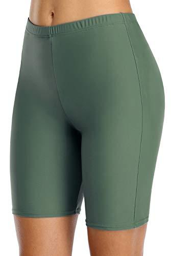 beautyin Damen Boardshort Badehose Hohe Taille Tankini Bademode Shorts - Grün - X-Large