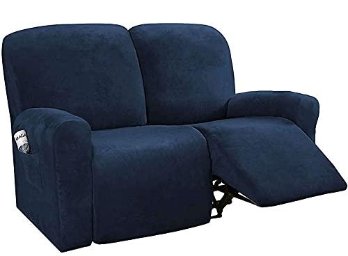 Unmbo Spandex Sofabezug 2 Sitzer Für Liege Sofa Protector Für Stretch Möbel Protector Abdeckung Für Recliner,Velvet Recliner Cover-Marine