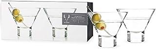 Viski Heavy Base Crystal Martini Glasses Set of 2, Lead-Free Premium Crystal Clear Glass, Stemless Martini Cocktail Glasses, Cocktail Glass Gift Set, 7.5 oz