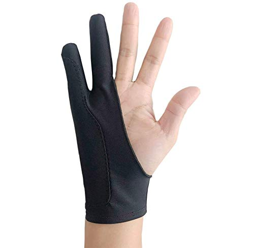 Free Size Black Tablet Drawing Anti-fouling Glove Artist Two Finger Glove for Graphic Tablet, Art Creation and iPad Pro Pencil Fit for Right Hand or Left Hand