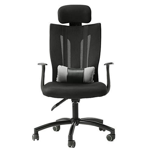 Comif-Chaise de bureau Ergonomique avec Appui-tête réglable et Support Lombaire, Chaise d'ordinateur à Dossier Haut en PU, inclinable à 165 ° et réglage de la Hauteur (Noir)