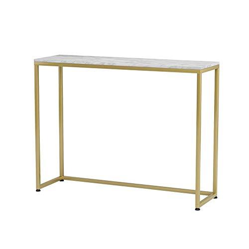 FUFU Mesas auxiliares TV Consola de Mesa, Mable sofá, Mesa de Entrada con Marco de Metal, 31 × 11,8 × 29.5Inches, por Pasillo, Entrada, Sala de Estar, Hall Mesas (Color : Gold)