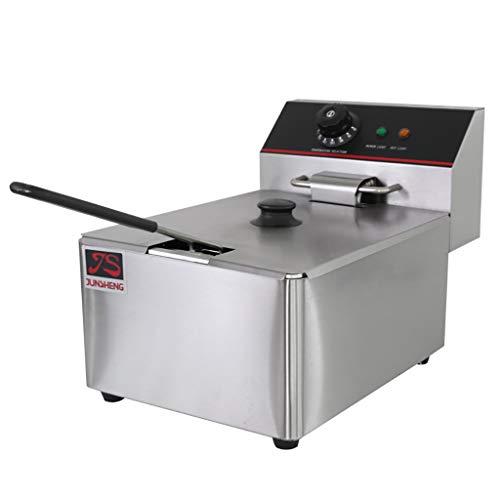 Deep Fryer Freidora Eléctrica 12L 5000W Freidora Industrial Acero Inoxidable para Patatas Fritas Commercial (6L + 6L Tanque con Accesorios)